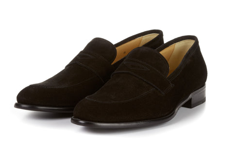 The Stewart Penny Loafer - Nero Suede