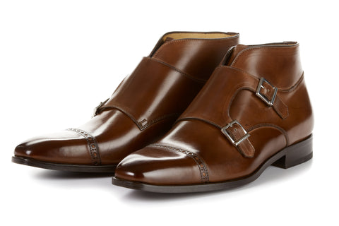 Paul Evans Handmade Italian Leather Men's Dress Shoes - The Heston Double Monk Strap Boot - Marrone