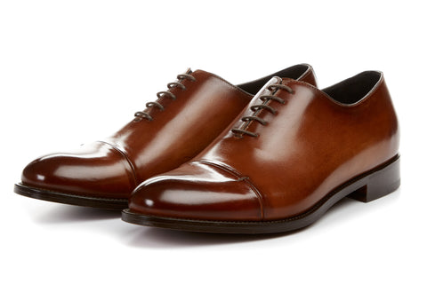Paul Evans Handmade Italian Leather Men's Dress Shoes - The Bogart Split Cap-Toe Oxford - Havana Brown