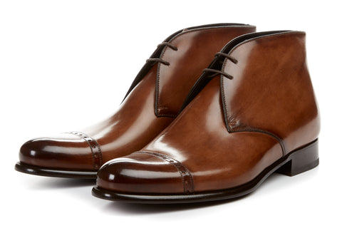 Paul Evans Handmade Italian Leather Men's Dress Shoes - The Lancaster Chukka Boot - Marrone