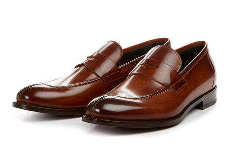 Paul Evans Handmade Italian Leather Men's Dress Shoes - The Redford Split-Toe Penny Loafer - Havana Brown