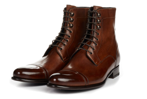Paul Evans Handmade Italian Leather Men's Dress Shoes - The Jackman Cap-Toe Boot - Marrone