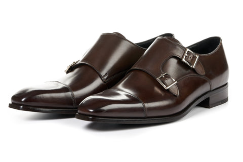 The Burton Double Monk Strap With Cap Toe - Chocolate