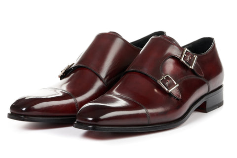 The Burton Double Monk Strap With Cap Toe - Oxblood