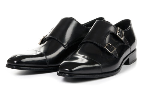 The Burton Double Monk Strap With Cap Toe - Nero