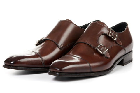 The Burton Double Monk Strap With Cap Toe - Marrone