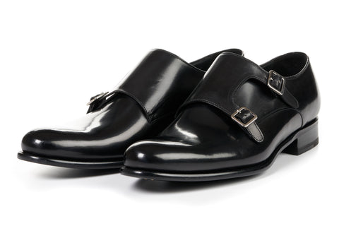 The Poitier Double Monk Strap - Nero