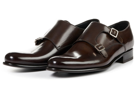 The Poitier Double Monk Strap - Chocolate