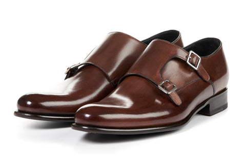 The Poitier Double Monk Strap - Marrone