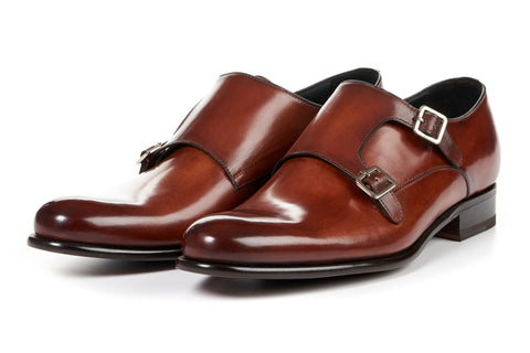 The Poitier Double Monk Strap - Havana Brown