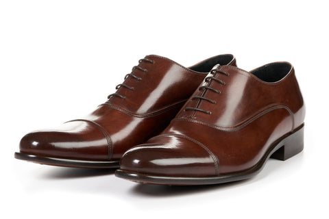 The Cagney II Stitched Cap-Toe Oxford - Marrone