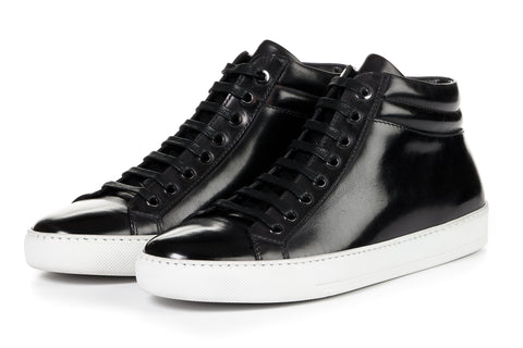 The Carter Mid-Top Sneaker - Nero - White Sole