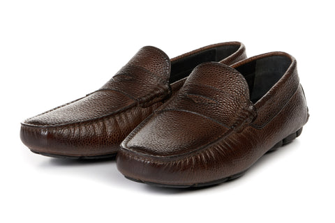 The McQueen Driving Loafer - Marrone - Pebbled Leather