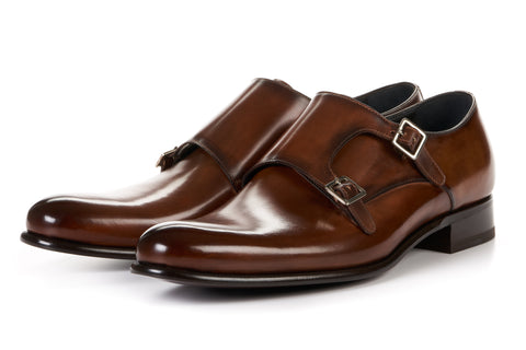The Poitier Double Monk Strap - Brown