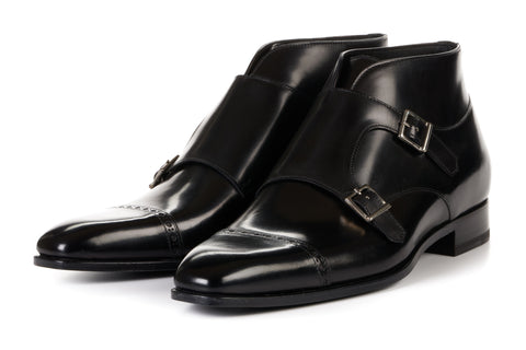 The Heston Double Monk Strap Boot - Nero