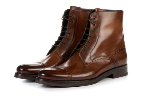 The Presley Lace-Up Boot - Brown - Rubber Sole