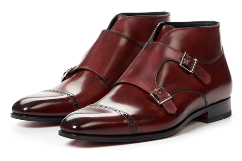 The Heston Double Monk Strap Boot - Oxblood