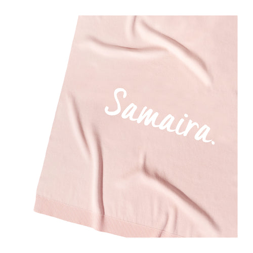 Pastel Pink Personalized Organic Cotton Knitted Blanket for kids