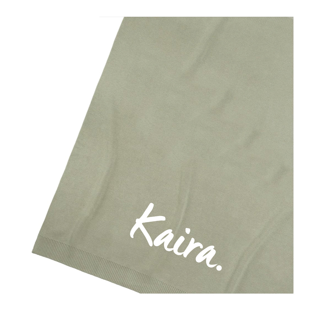 Dusty Sage Personalized Organic Cotton Knitted Blanket - Single Bed