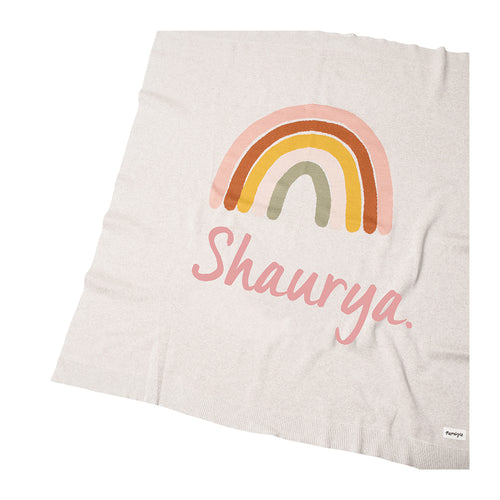 Rainbow English Rose Personalized Organic Knitted  Blanket - Girls