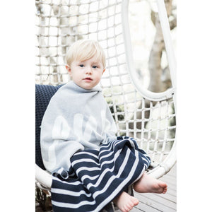 Grey Marl & Navy Stripe Personalized Organic Cotton Knitted Blanket - Single Bed