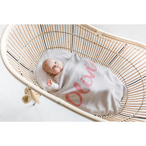 Snow Marl  & Lily Pink Personalized Organic Cotton Knitted Blanket