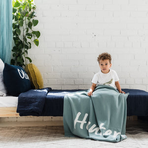 Stone Blue Personalized Organic Cotton Knitted Blanket - Single Bed