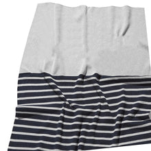 Load image into Gallery viewer, Grey Marl & Navy Stripe Personalized Organic Cotton Knitted Blanket - Single Bed