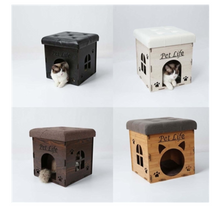 Load image into Gallery viewer, Collapsible Designer Cat House Furniture Bench