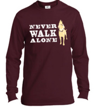 Load image into Gallery viewer, Long Sleeve T-shirt: Never Walk Alone (unisex, maroon)