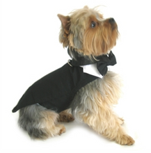 Load image into Gallery viewer, Wedding Tuxedo Black w/Tails, Bowtie Collar and D-Ring