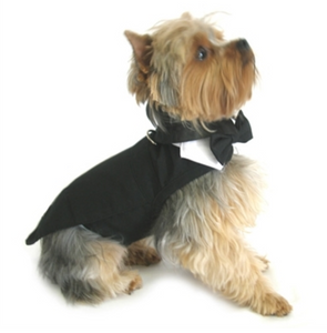 Wedding Tuxedo Black w/Tails, Bowtie Collar and D-Ring
