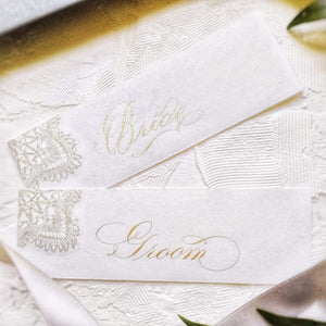 xuecalligraphy Place Cards White / Black / Modern Script Hand Written Place Cards