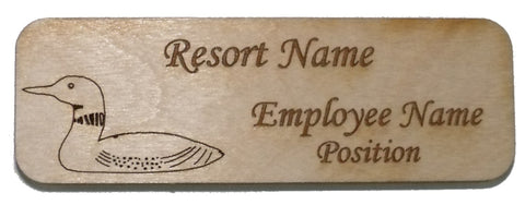 Wood Name Tag - Loon Rectangle