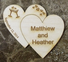 Wood Magnets, Double Solid Hearts