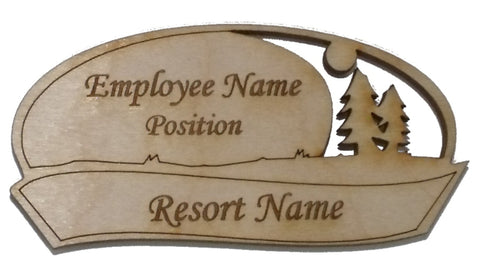 Wood Name Tag - Oval