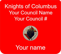 Knights of Columbus plastic pocket badge. Shows member name