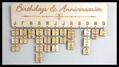 Birthday / Anniversary Calendar - Natural Wood