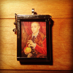 """Boy with Apple"" Shadowbox Pendant"