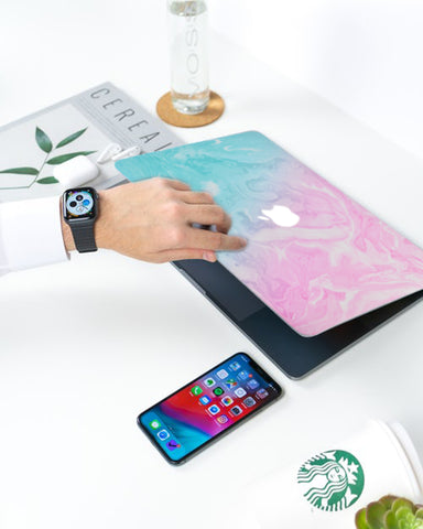 Luvcase Macbook Case - Teal and Pink Marble