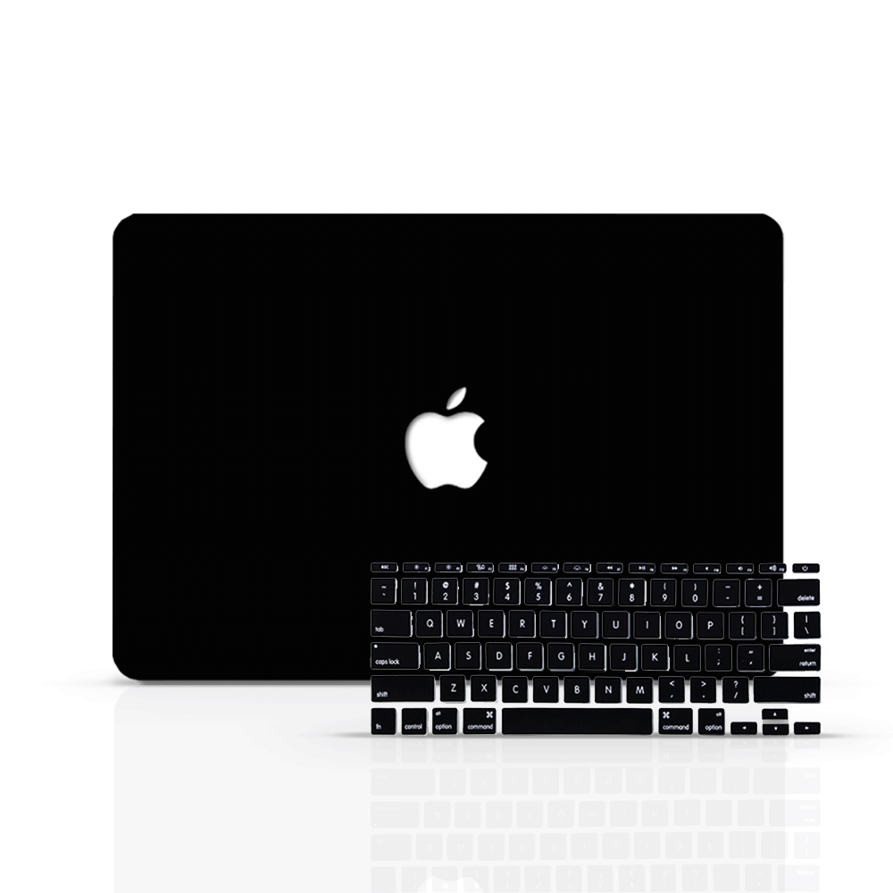 Macbook Case Bundle - Macbook Case with Keyboard Cover - Color Collection - Black