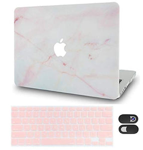 Macbook Case Bundle - Marble Collection - Pink Marble with Keyboard Cover and Webcam Cover
