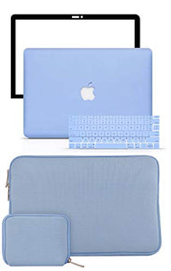 Macbook Case 5 in 1 Bundle - Color Collection - Serenity Blue with Slim Sleeve, Keyboard Cover, Screen Protector and Pouch