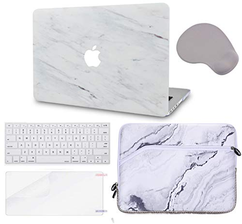 Macbook Case 5 in 1 Bundle - Marble Collection - Silk White Marble with Sleeve, Keyboard Cover, Screen Protector and Mouse Pad