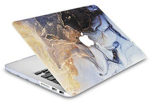 MacBook Case  - Color Collection - Black Gold Swirl with Sleeve, Keyboard Cover, Screen Protector and USB Hub