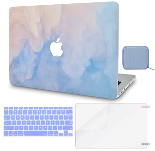 Macbook Case 4 in 1 Bundle - Paint Collection - Blue Mist with Keyboard Cover, Screen Protector and Pouch
