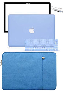 Macbook Case 5 in 1 Bundle - Color Collection - Serenity Blue with Sleeve, Keyboard Cover, Screen Protector and USB Hub 3.0