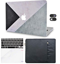Load image into Gallery viewer, Macbook Case 5 in 1 Bundle - Color Collection - Black White Grey with Sleeve, Keyboard Cover, Screen Protector and Webcam Cover
