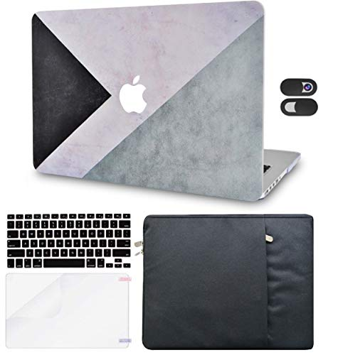 Macbook Case 5 in 1 Bundle - Color Collection - Black White Grey with Sleeve, Keyboard Cover, Screen Protector and Webcam Cover