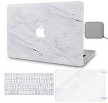 Load image into Gallery viewer, Macbook Case 4 in 1 Bundle - Marble Collection - Silk White Marble with Keyboard Cover, Screen Protector and Pouch